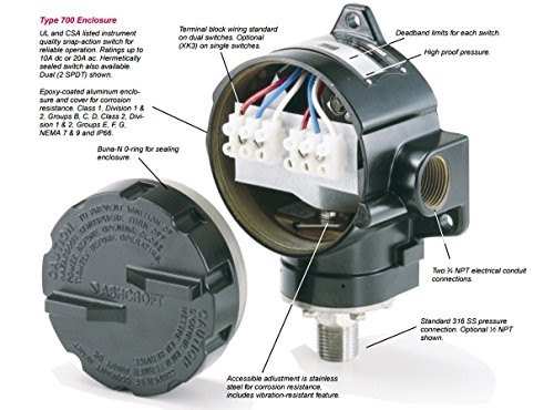 Ashcroft B762V X07 B Series Type 700 Vacuum Pressure Switch, -30in HG to 30 PSI