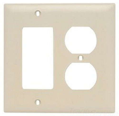 Pass & Seymour TP826-I Duplex Wall Plate, 1 Duplex 1 Decor, Ivory Color, 5 Pack
