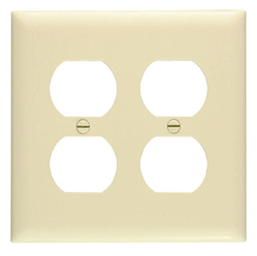 Pass and Seymour TP82-I Duplex Receptacle Wall Plate, 2 Gang, 4 Outlet, Ivory