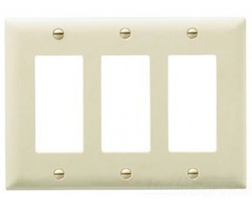 Pass and Seymour TP263-I 3G Decora Wall Plate, Ivory Color, Pack of 5