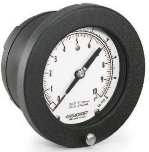 Ashcroft 45-1187-SS-02B Type 1187 Low Pressure Bellows Gauge, 10/W/ZSI Range