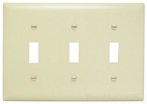 Pass and Seymour TP3-LA 3-Gang Toggle Switch Wall Plate, Light Almond, Pack of 5
