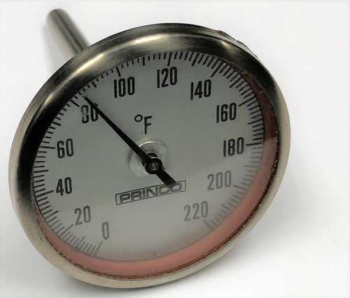 Princo Instruments 2002.5 Dial Thermometer, 0 to 220 deg F, Bi-Metal Actuated