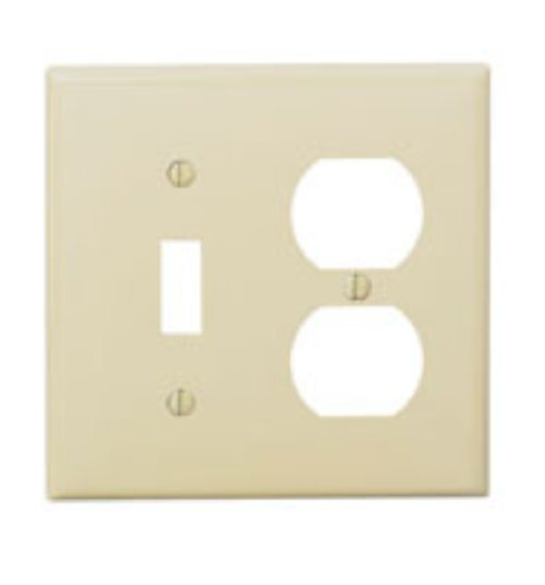 Leviton 007-PJ18-I Duplex Device Combination Wallplate, 2 Gang, 1 Toggle, Ivory