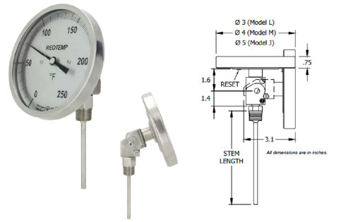 """Reotemp JJ0901F43 All-Angle Form Thermometer, 5"""" Dial w/ Reset, 0-200 deg F"""