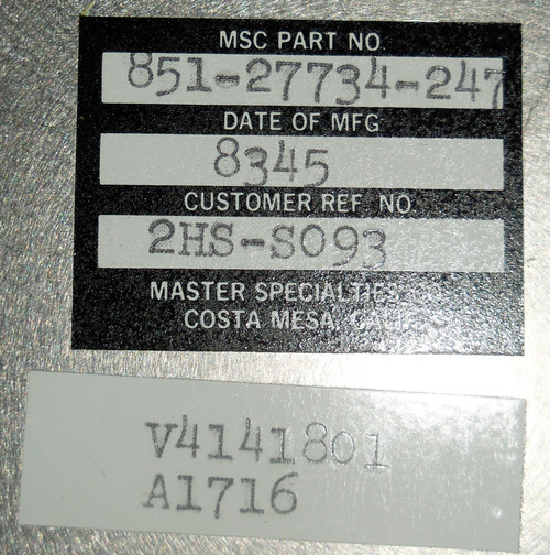MSC Master Specialties Company 851-27734-247 2HS-S093 Switch Box Station