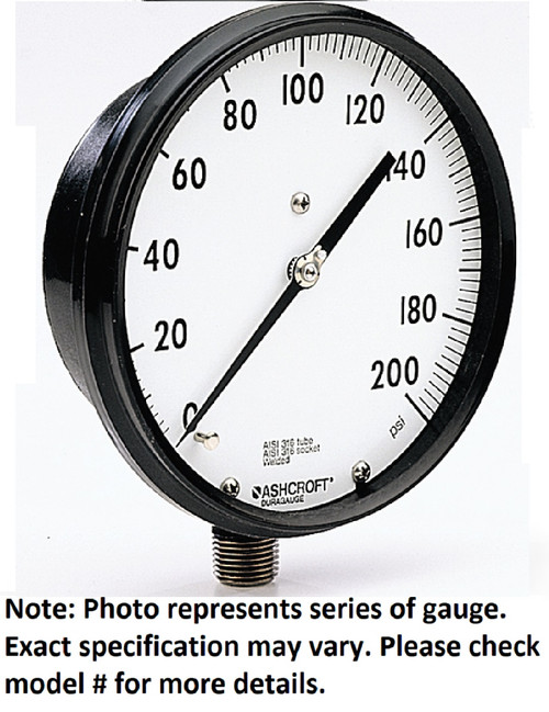 "Ashcroft 45-2462-SS-02L-400 Pressure Gauge, 0-400IN HG VAC, 1/4"" NPT, Lower Mt"