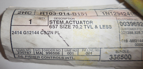 Fisher Controls 1N129424102 Stem Actuator, 657 Size 70, 2TVL and Less, 2414