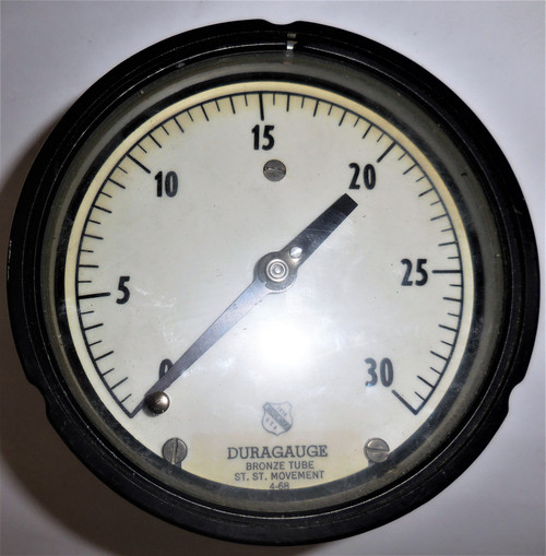 "Ashcroft Unknown Duragauge Pressure Gauge, 0-30 PSI, Bronze Tube, 5"" Face"