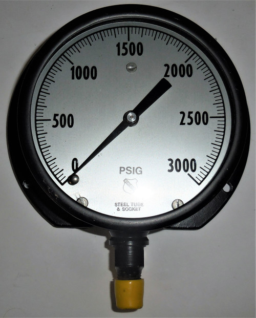 "Ashcroft Unknown Pressure Gauge, 0-3000 PSI, Steel Tube and Socket, 5"" Face"
