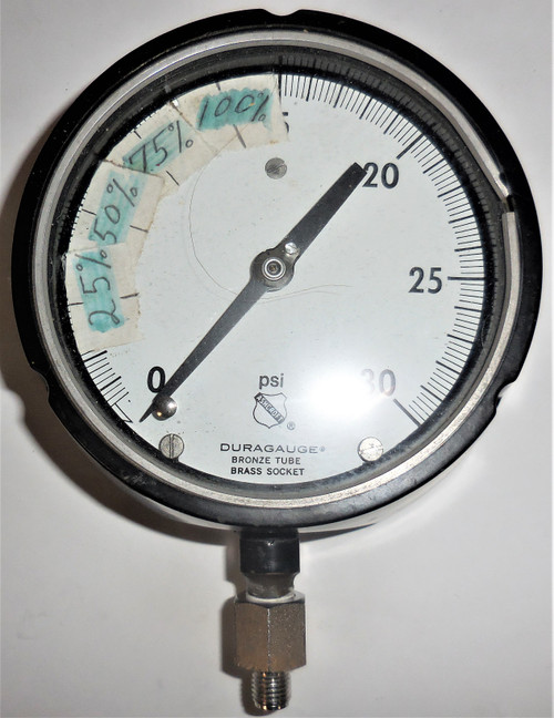 "Ashcroft Duragauge Pressure Gauge, 0-30 PSI, Bronze Tube Brass Socket, 5"" Face"