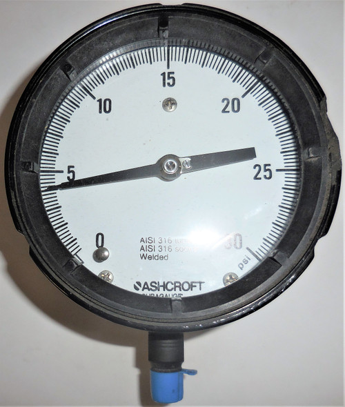 "Ashcroft Duragauge Pressure Gauge, 0-30 PSI, AISI 316 Tube and Socket, 5"" Face"