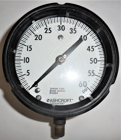 "Ashcroft Duragauge Pressure Gauge, 0-60 PSI, Bronze Tube Brass Socket, 5"" Face"