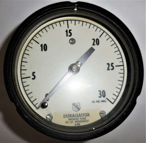 "Ashcroft Unknown Duragauge Pressure Gauge, 0-30 In HG Vac, Bronze Tube, 5"" Face"