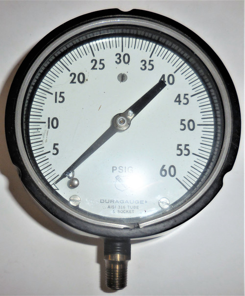 "Ashcroft Duragauge Pressure Gauge, 0-60 PSIG, AISI 316 Tube and Socket, 5"" Face"
