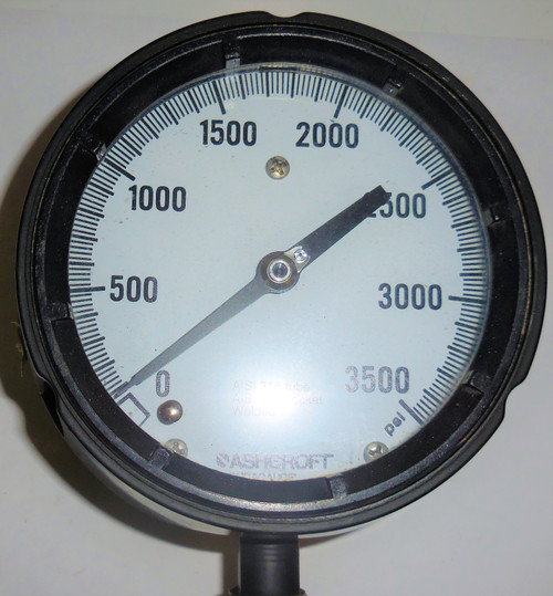 "Ashcroft Duragauge Pressure Gauge, 0-3500 PSI, AISI 316 Tube and Socket, 5"" Face"