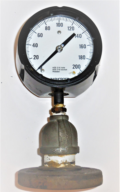 Ashcroft Duragauge Pressure Gauge, 0-200 PSI Range, 316 Tube and Socket, Welded