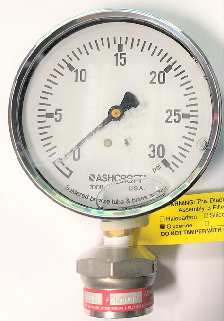 Ashcroft 10 1008AL 026 30PSI Diaphragm Seal Pressure Gauge, 0-30 PSI, 4 in Face