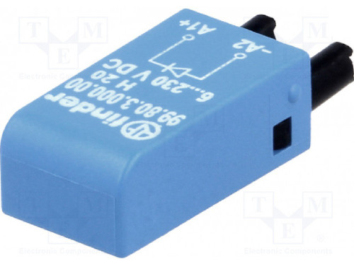 Finder Relays 99.80.3.000.00 Switching Diode Module, 6-220V DC, Terminal A1