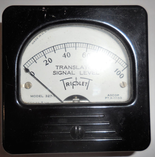 Triplett Unknown Panel Meter, 327-T, Translator Signal Level 0-100 Range