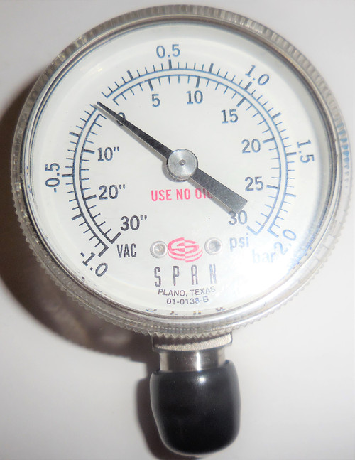 Span Inst Pressure Gauge, 01-0138-B, 30 in to 0 VAC, 0-30 PSI, -1.0 to 2.0 bar