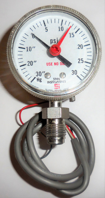 Span Indicating Pressure Switch, 30 to 0 in Hg, 0 to 30 PSI, Close on Ascend NO