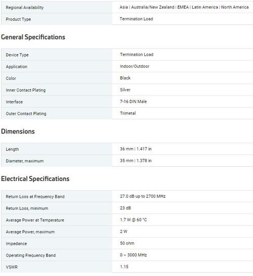 CommScope Andrew T-2-DM dc-3.0 GHz 2 Watt DIN Male Termination Load, 50 Ohm