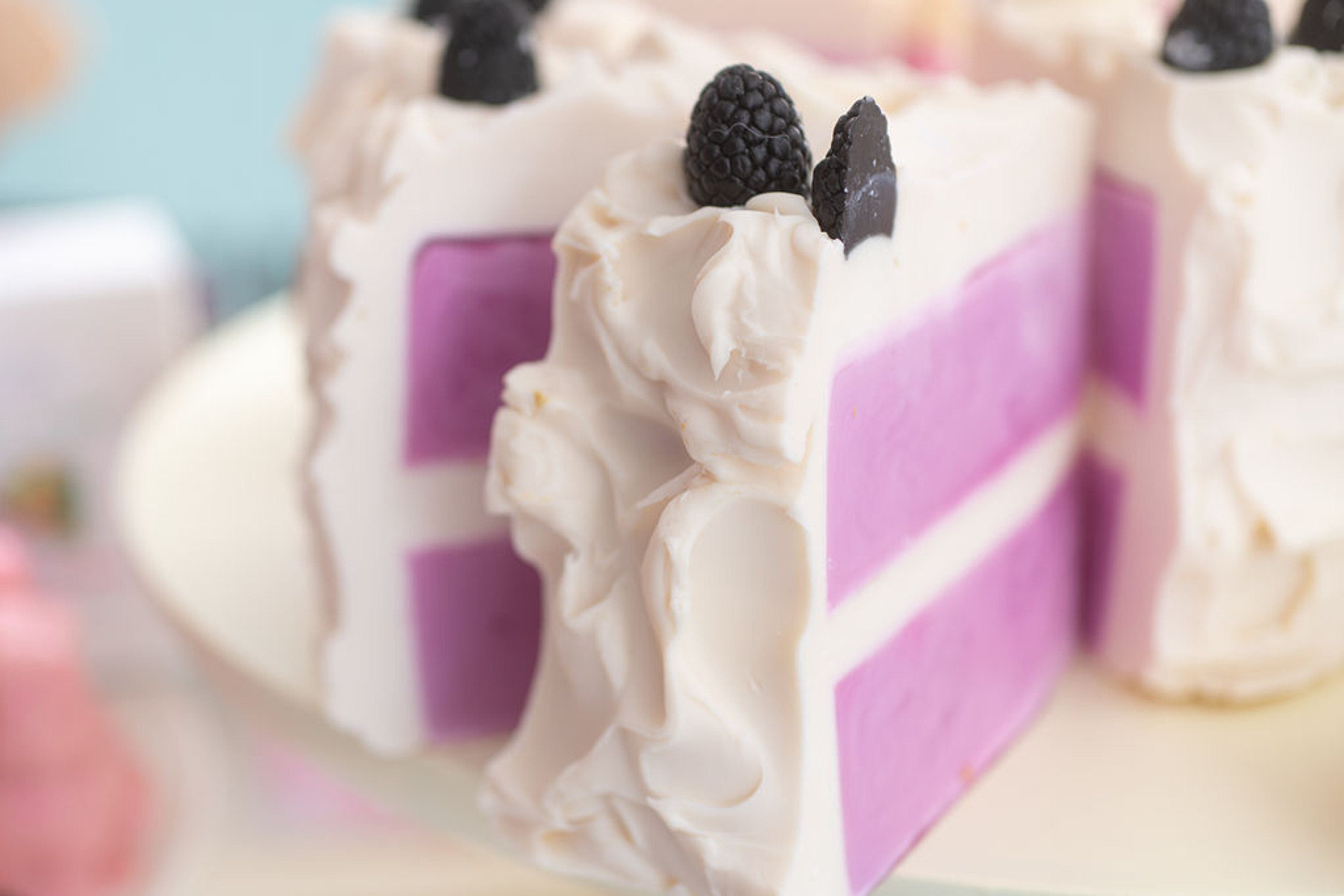 Blackberry Coulis Double Layer Soap Cake (Slice)
