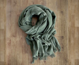 LARGE Lotus Olive Traditional Weave Scarf