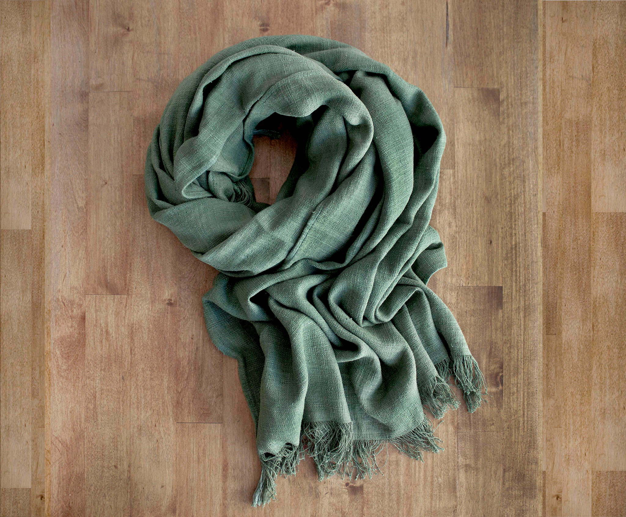 Lotus Olive Traditional Weave Scarf