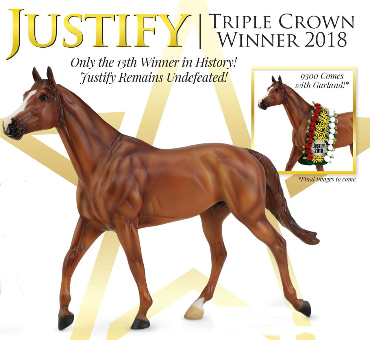 adcc60ecc976 Breyer Horses Traditional Triple Crown Winner Justify - Golden Oak Stables