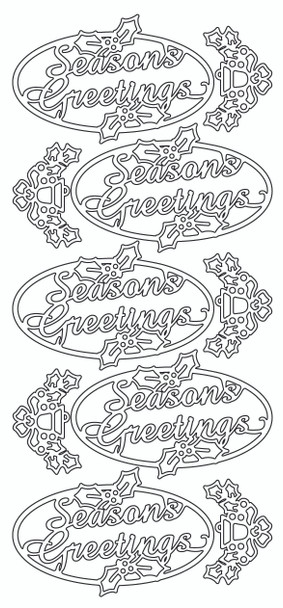 Seasons Greetings in Oval Sticker