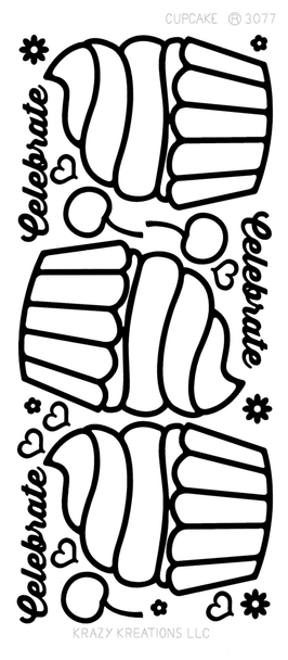 Cupcakes Outline Sticker