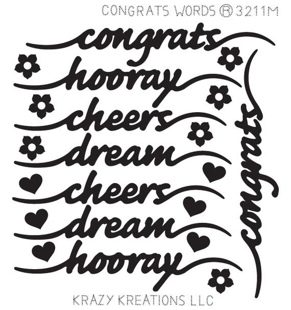 Congrats Words Sticker - Mini