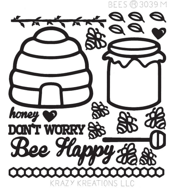 Bees Outline Sticker - Mini