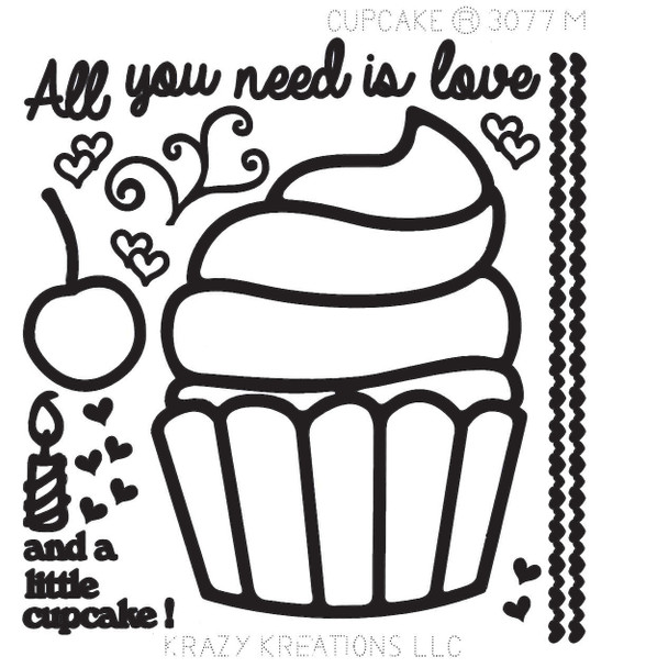 Cupcake Outline Sticker - Mini