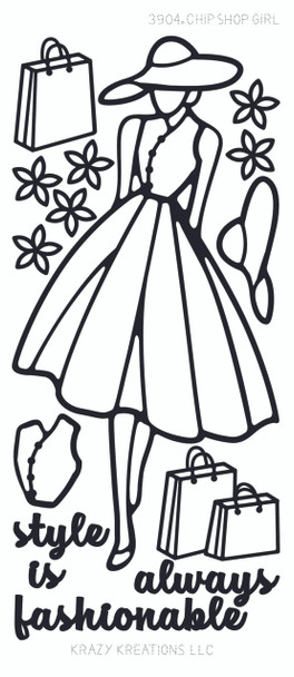 Paper Doll Outline Sticker, Shopping Girl