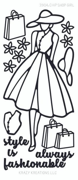Paper Doll Outline Sticker, Shopping Girl
