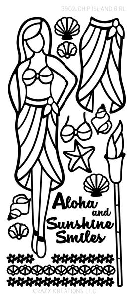 Paper Doll Outline Sticker, Island Girl