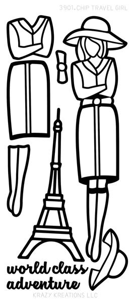 Paper Doll Outline Sticker, Travel Girl