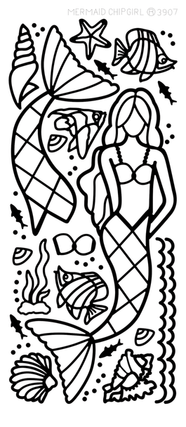 Paper Doll Outline Sticker, Mermaid