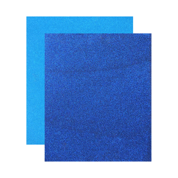 "Micro Fine Glitter Paper, Canadian Blue/Royal Blue, 5"" x 6"", 2 Sheets"
