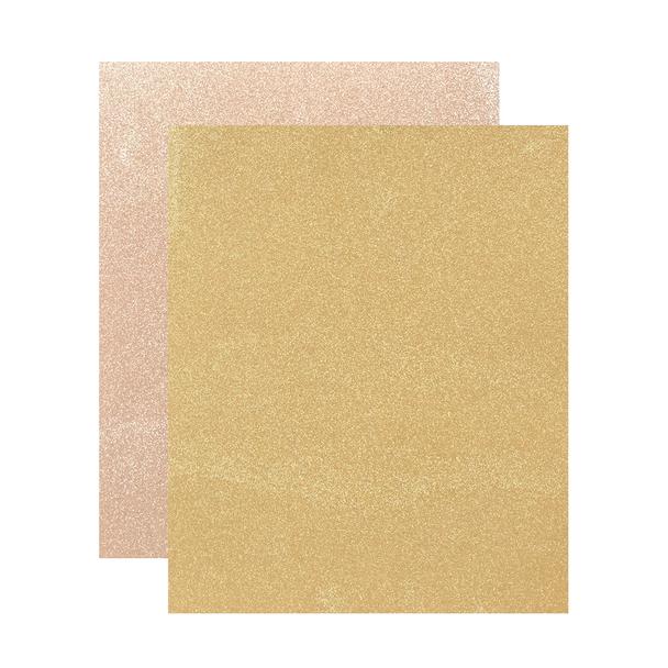 "Micro Fine Glitter Paper, Sand/Dark Gold,  5"" x 6"", 2 Sheets"