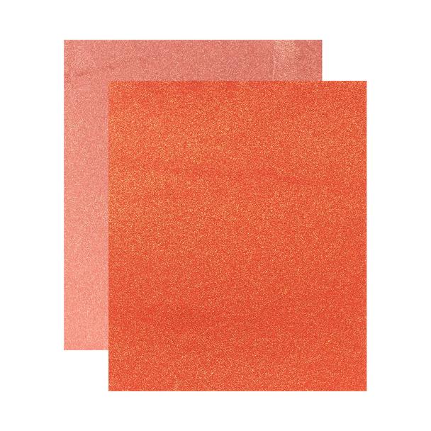 """Micro Fine Glitter Paper, Orange/Copper,  5"""" x 6"""", 2 Sheets"""