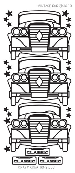 Vintage Car Outline Sticker