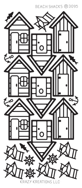 Beach Shacks Outline Sticker