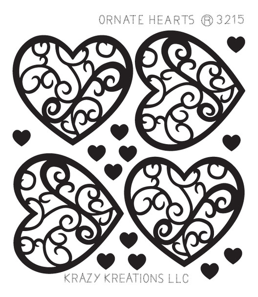 Ornate Hearts Outline Sticker - Mini