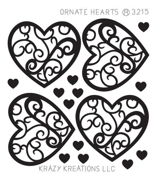 Ornate Hearts Outline Sticker - Mini