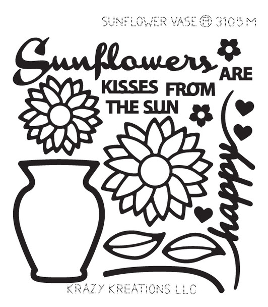 Sunflower Vase Outline Sticker - Mini