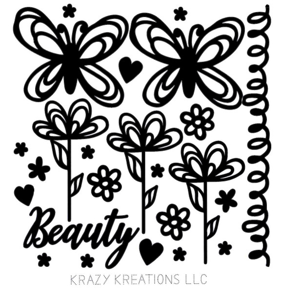 Butterfly Scribble Outline Sticker - Mini